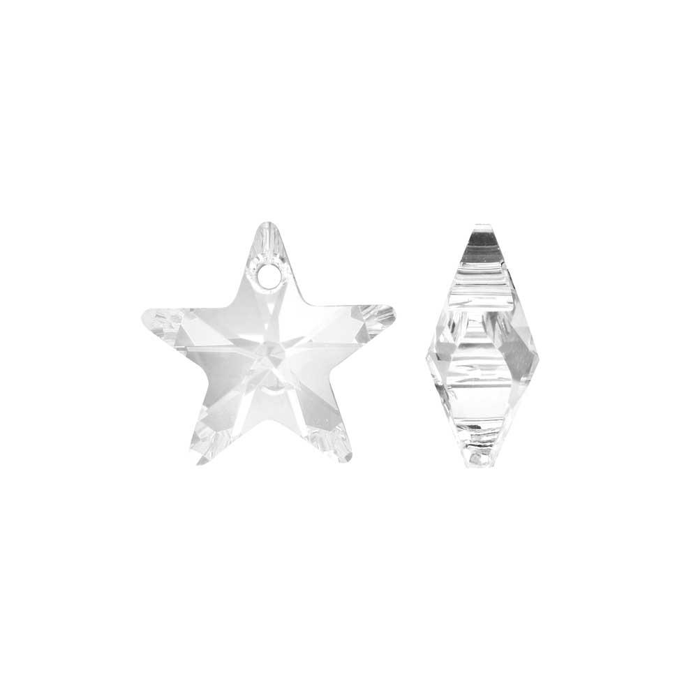 Swarovski Crystal, #6715 Star Pendant 14mm, 2 Pieces, Crystal