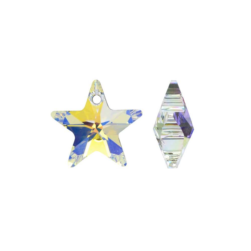 Swarovski Crystal, #6715 Star Pendant 14mm, 2 Pieces, Crystal AB