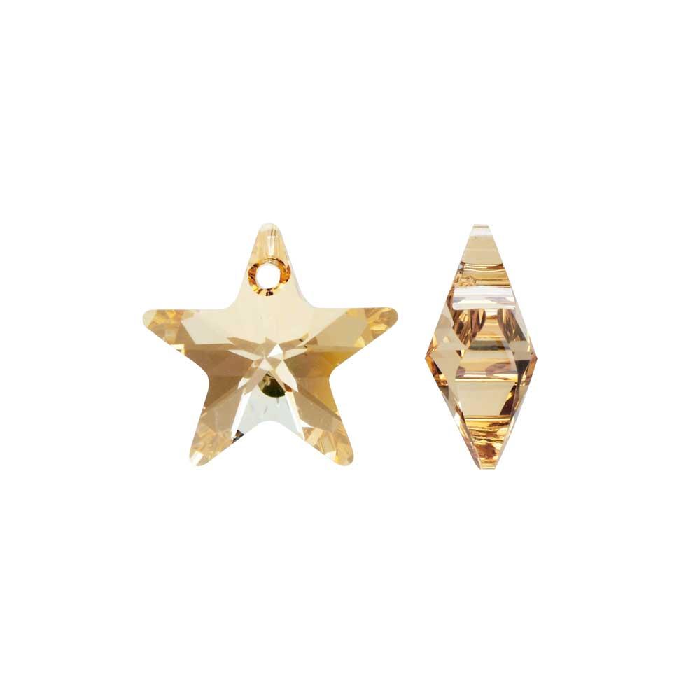 Swarovski Crystal, #6715 Star Pendant 14mm, 2 Pieces, Crystal Golden Shadow