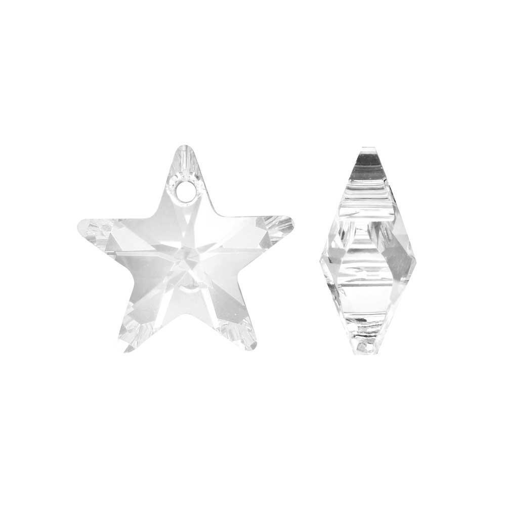 Swarovski Crystal, #6715 Star Pendant 16mm, 2 Pieces, Crystal