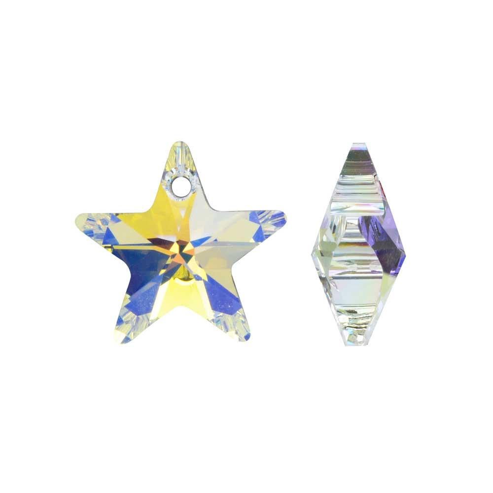 Swarovski Crystal, #6715 Star Pendant 16mm, 2 Pieces, Crystal AB