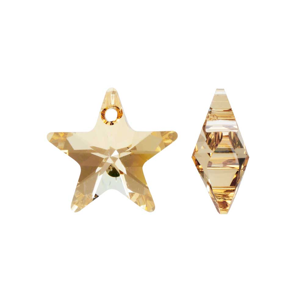Swarovski Crystal, #6715 Star Pendant 16mm, 2 Pieces, Crystal Golden Shadow