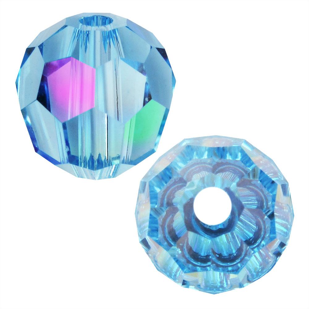 Swarovski Crystal, #5000 Round Beads 4mm, 12 Pieces, Aquamarine Shimmer