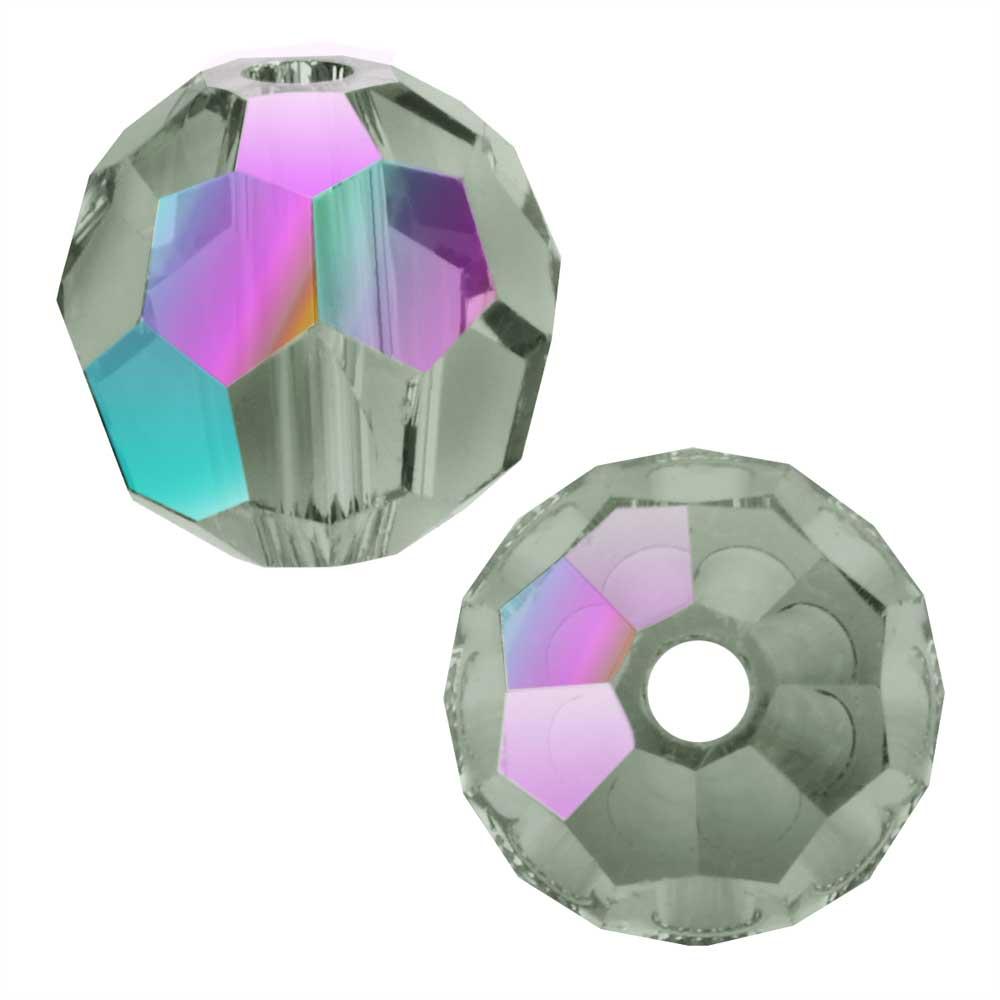 Swarovski Crystal, #5000 Round Beads 8mm, 8 Pieces, Black Diamond Shimmer
