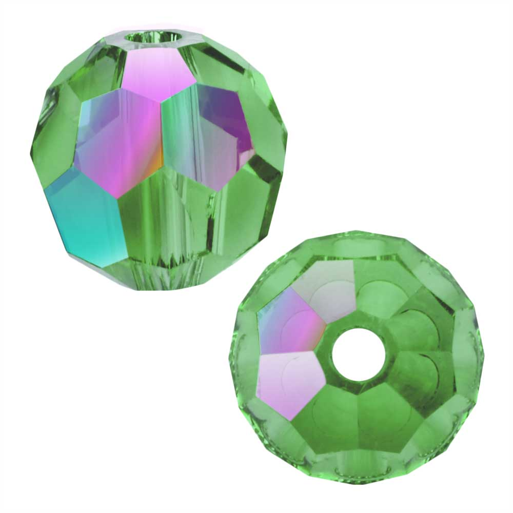 Swarovski Crystal, #5000 Round Beads 8mm, 8 Pieces, Erinite Shimmer