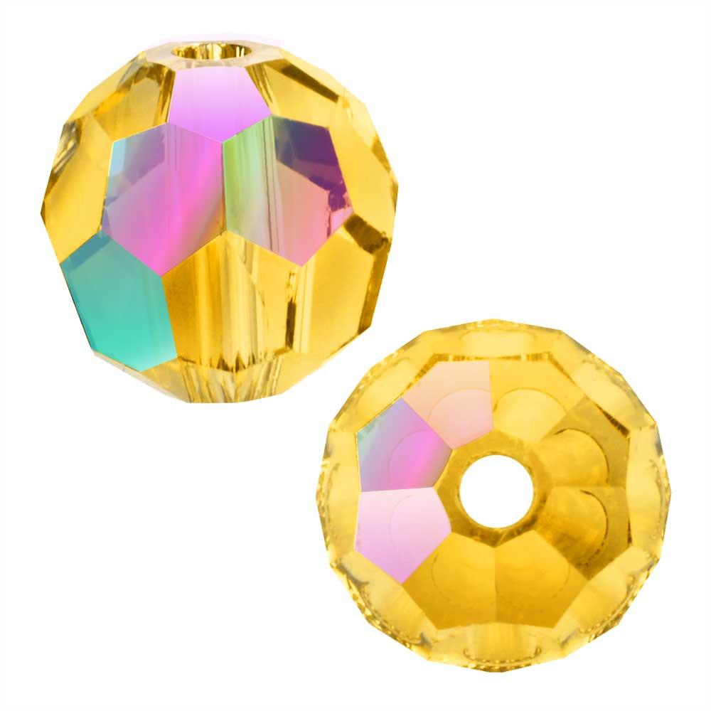 Swarovski Crystal, #5000 Round Beads 8mm, 8 Pieces, Light Topaz Shimmer