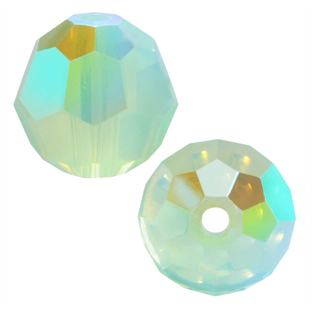 Swarovski Crystal, #5000 Round Beads 8mm, 8 Pieces, Chrysolite Opal Shimmer