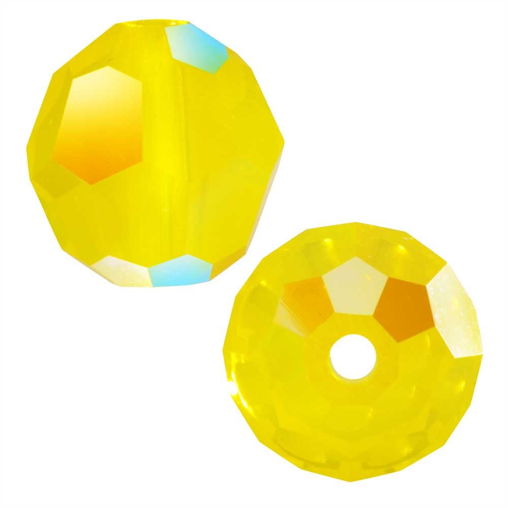 Swarovski Crystal, #5000 Round Beads 8mm, 8 Pieces, Yellow Opal Shimmer