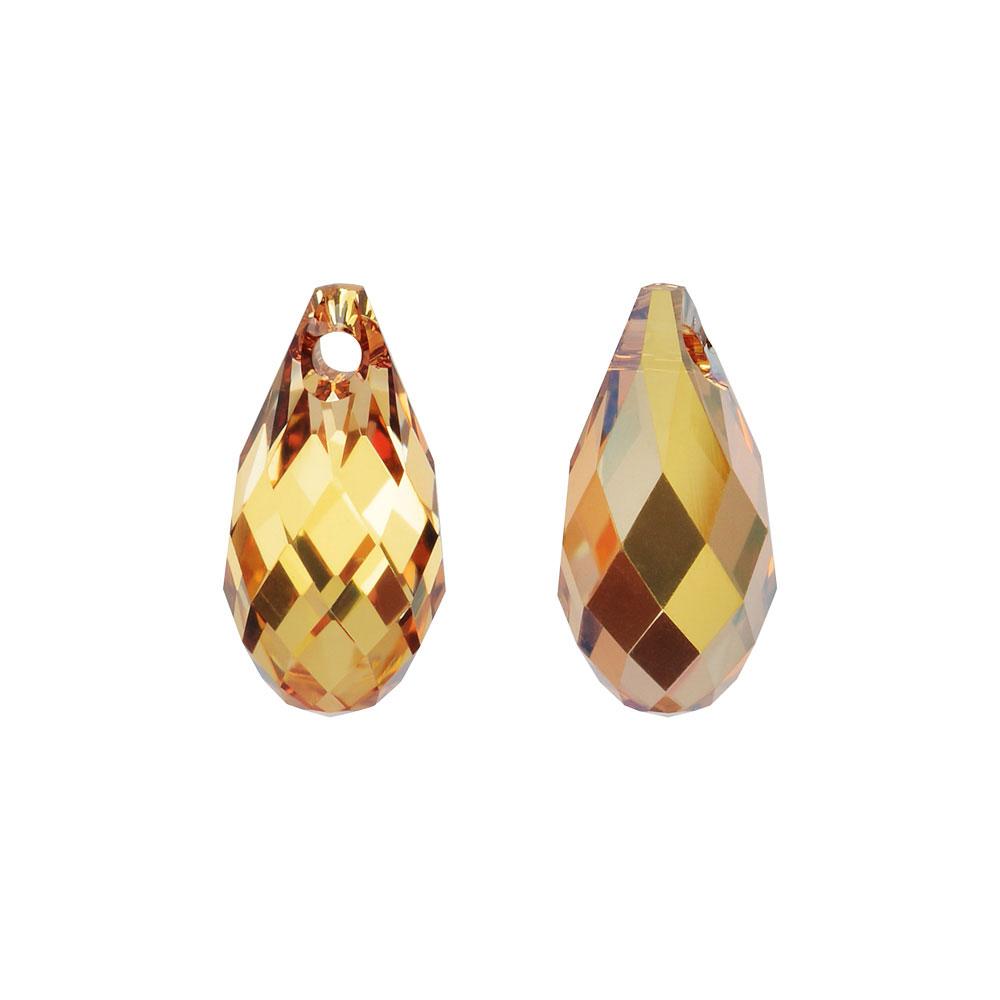 Swarovski Crystal, #6010 Briolette Pendants 11x5.5mm, 2 Pieces, Crystal Metallic Sunshine