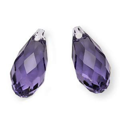 Swarovski Crystal, #6010 Briolette Pendants 13x6.5mm 2 Pieces, Tanzanite
