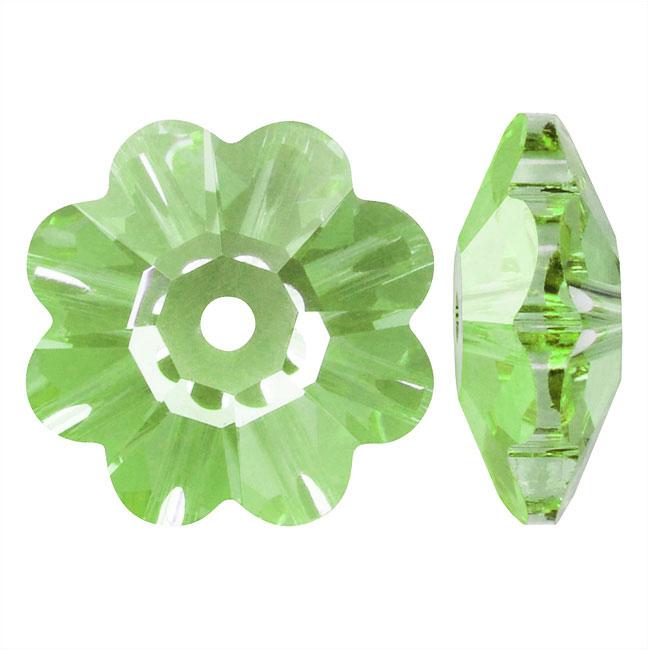 Swarovski Crystal, #3700 Flower Margarita Beads 12mm, 4 Pieces, Peridot