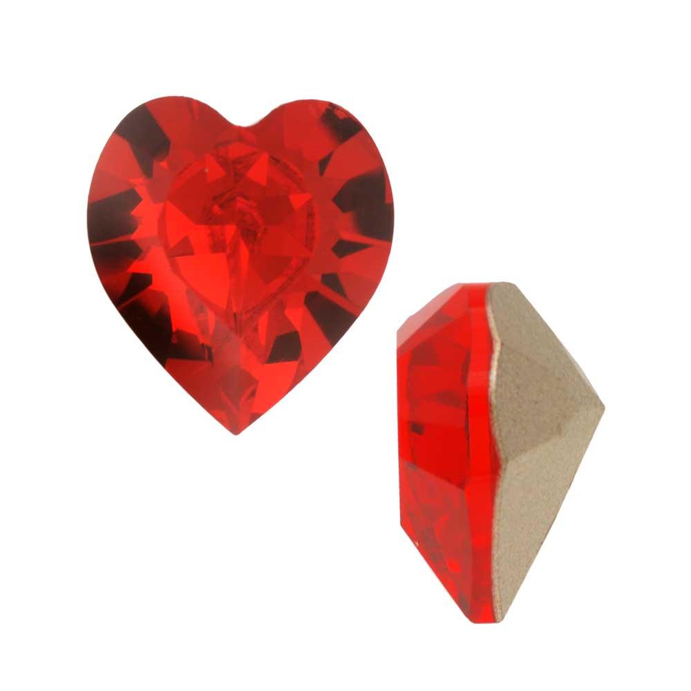 Swarovski Crystal, #4884 Xilion Heart Fancy Stone 11x10mm, 2 Pieces, Light Siam F