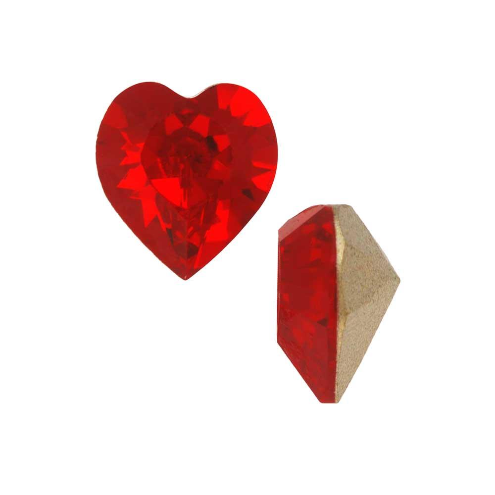 Swarovski Crystal, #4884 Xilion Heart Fancy Stone 8.8x8mm, 2 Pieces, Light Siam F