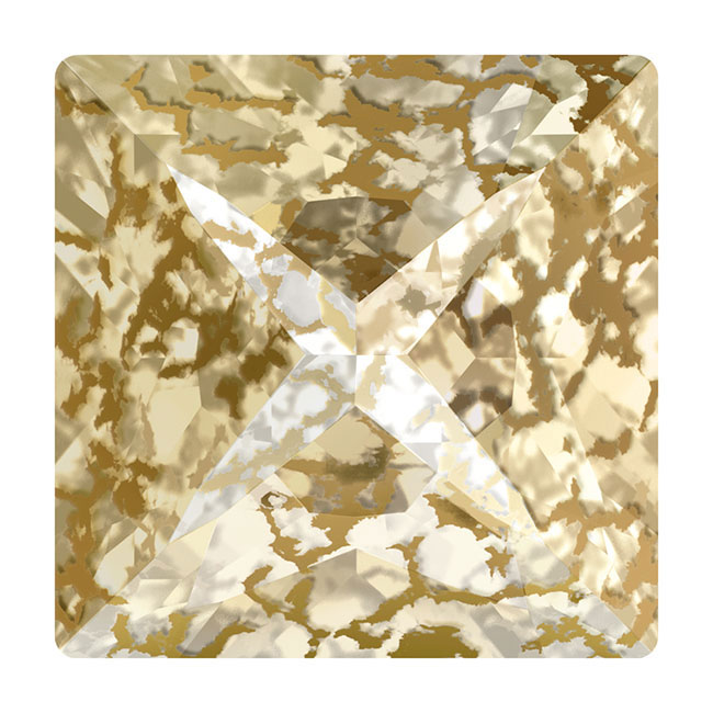 Final Sale - Swarovski Crystal, #4418 Xilion Pointed Square Fancy Stones 8mm, 2 Pieces, Crystal Gold Patina F