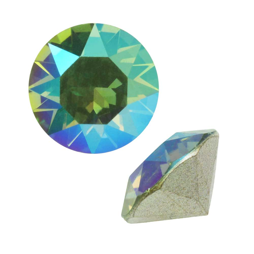 Swarovski Crystal, #1088 Xirius Round Stone Chatons ss39, 6 Pieces, Erinite Shimmer