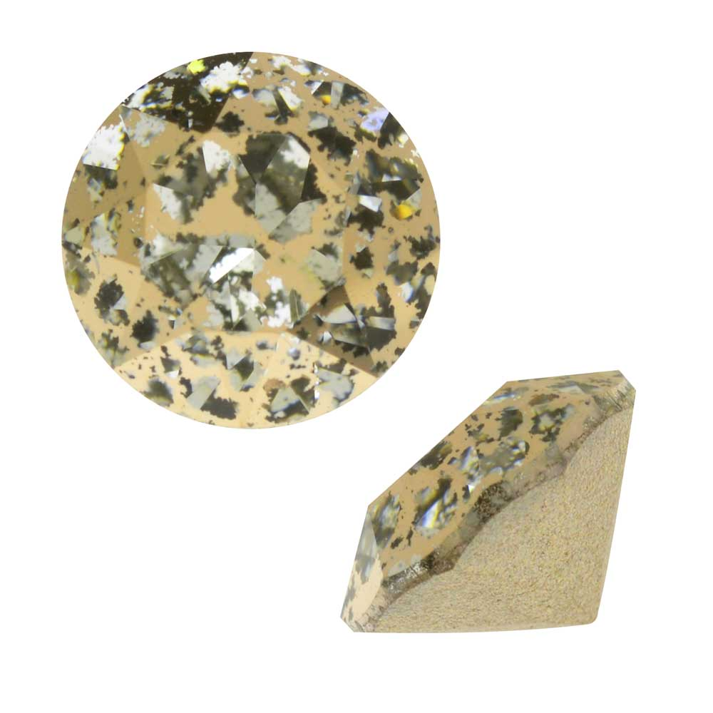 Swarovski Crystal, #1088 Xirius Round Stone Chatons ss39, 6 Pieces, Crystal Gold Patina F