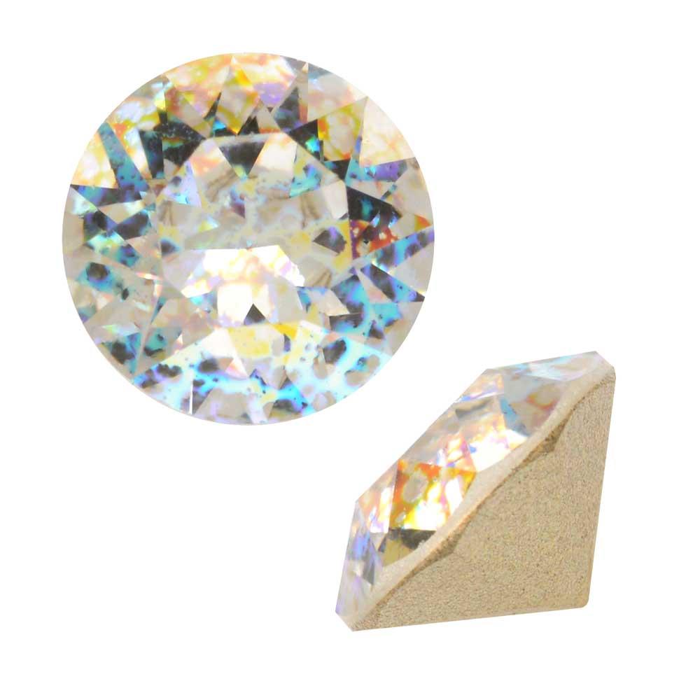 Swarovski Crystal, #1088 Xirius Round Stone Chatons ss39, 6 Pieces, Crystal White Patina F