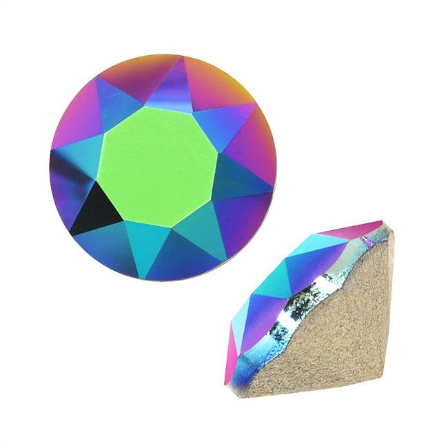 Swarovski Crystal, #1088 Xirius Round Stone Chatons ss39, 6 Pieces, Scarabaeus Green