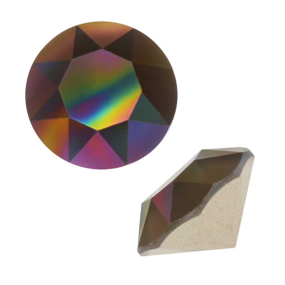 Swarovski Crystal, #1088 Xirius Round Stone Chatons ss39, 6 Pieces, Crystal Rainbow Dark F