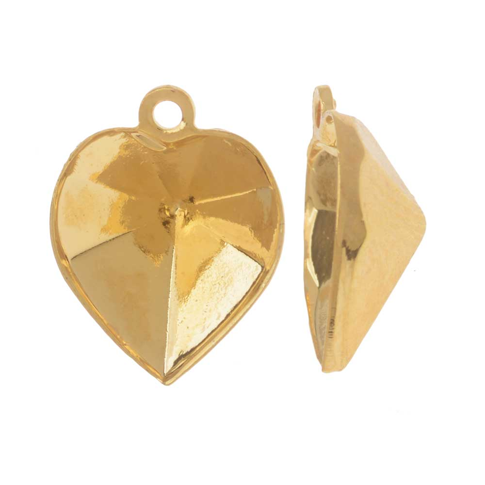 Swarovski Crystal Fancy Stone Pendant Setting, Fits #4884 Heart 11x10mm, 2 Pieces, Gold Plated