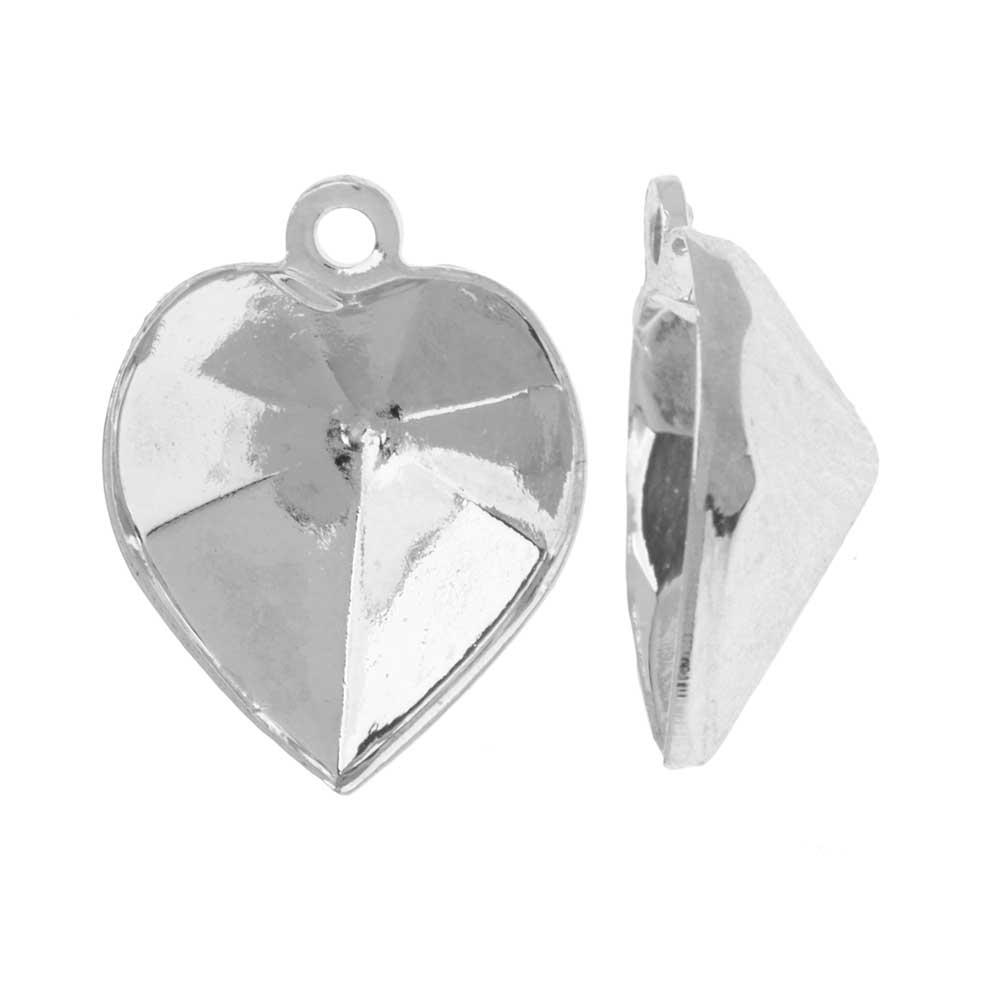 Swarovski Crystal Fancy Stone Pendant Setting, Fits #4884 Heart 11x10mm, 2 Pieces, Rhodium Plated