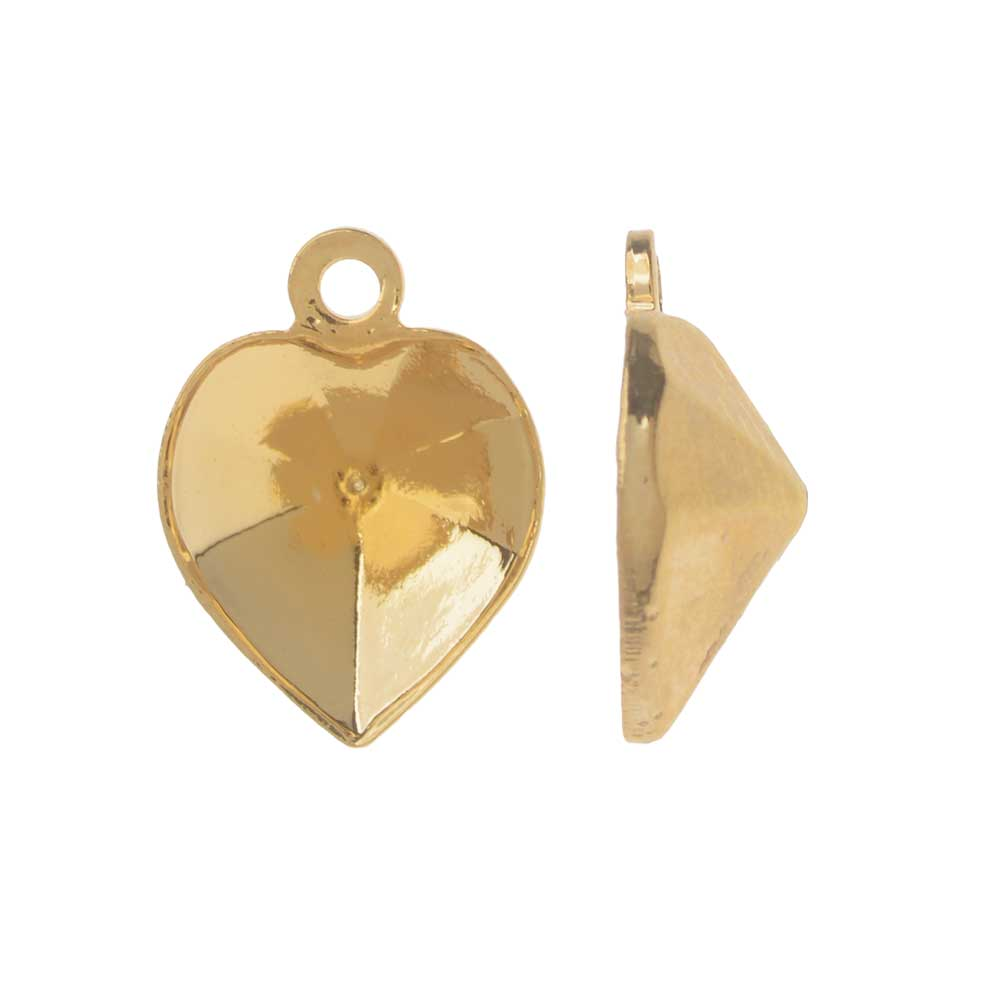 Swarovski Crystal Fancy Stone Pendant Setting, Fits #4884 Heart 8.8x8mm, 2 Pieces, Gold Plated