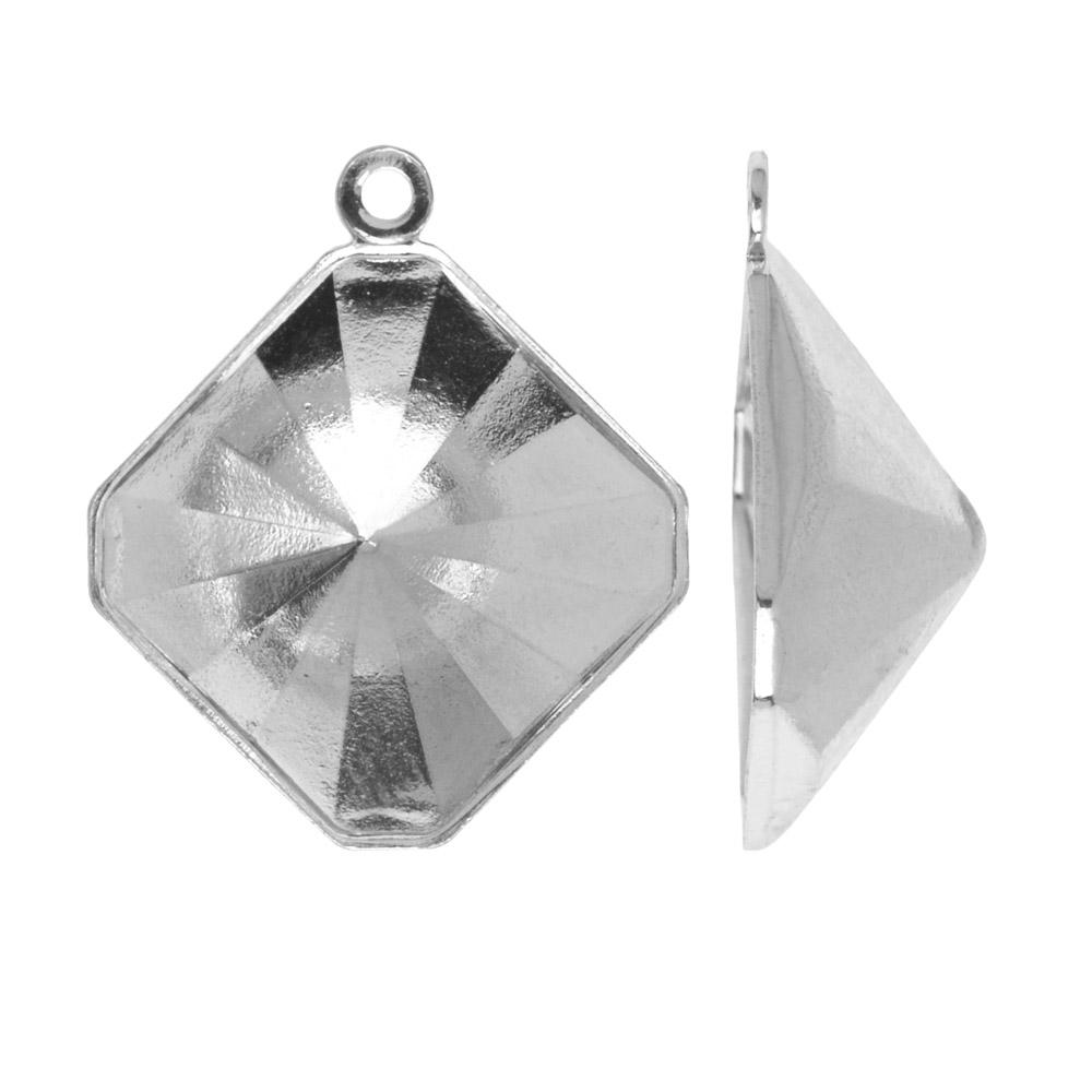 Swarovski Crystal Fancy Stone Pendant Setting, or #4499 Kaleidoscope Square 14mm, Rhodium Plated