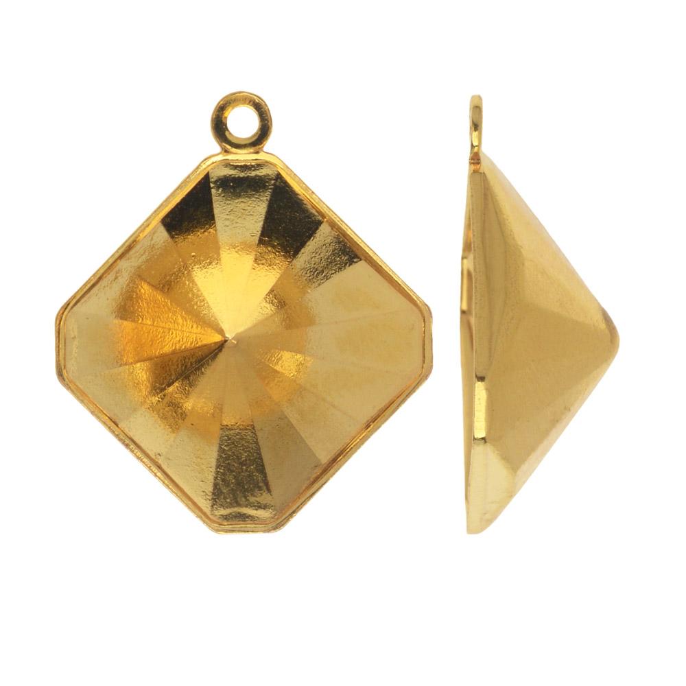 Swarovski Crystal Fancy Stone Pendant Setting, Fits #4499 Kaleidoscope Square 14mm, Gold Plated