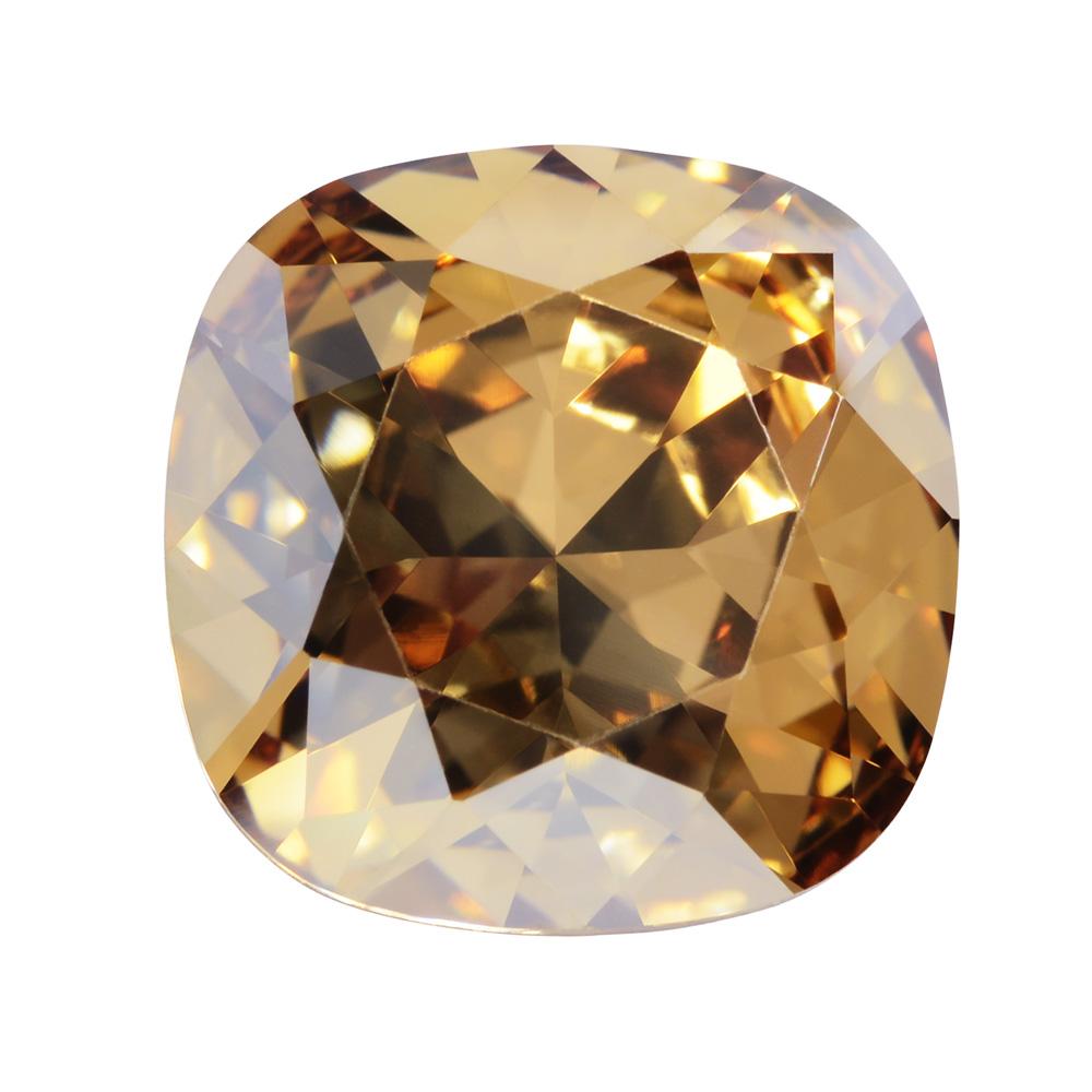 Swarovski Crystal, #4470 Cushion Fancy Stone 12mm, 1 Piece, Crystal Golden Shadow Foiled