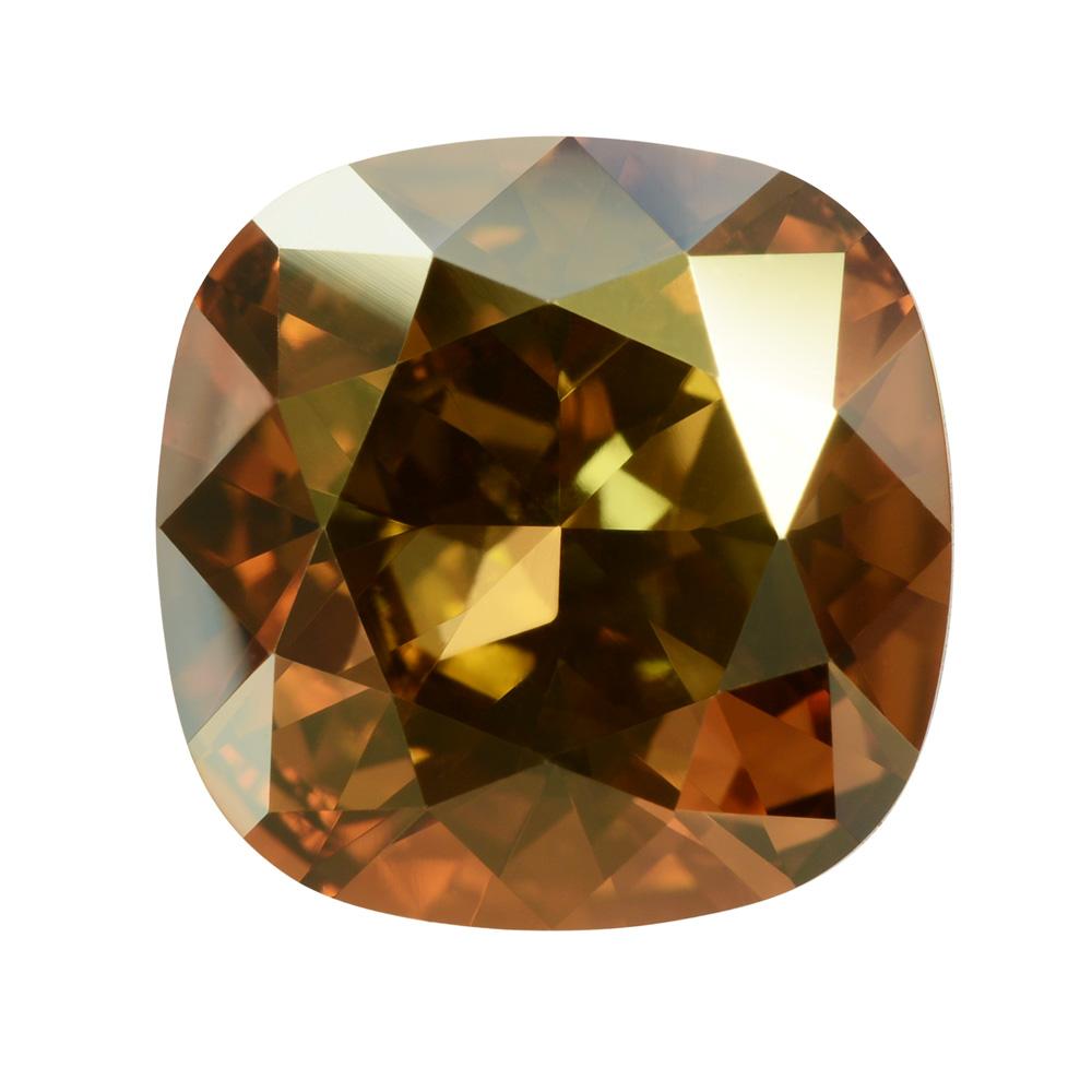 Swarovski Crystal, #4470 Cushion Fancy Stone 12mm, 1 Piece, Crystal Metallic Sunshine Foiled