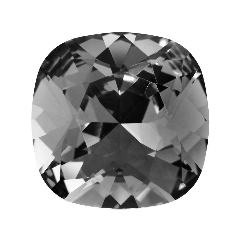 Swarovski Crystal, #4470 Cushion Fancy Stone 12mm, 1 Piece, Crystal Silver Night Foiled