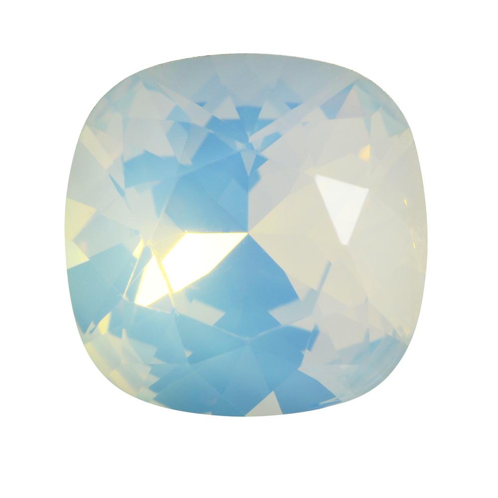 Swarovski Crystal, #4470 Cushion Fancy Stone 12mm, 1 Piece, White Opal Foiled