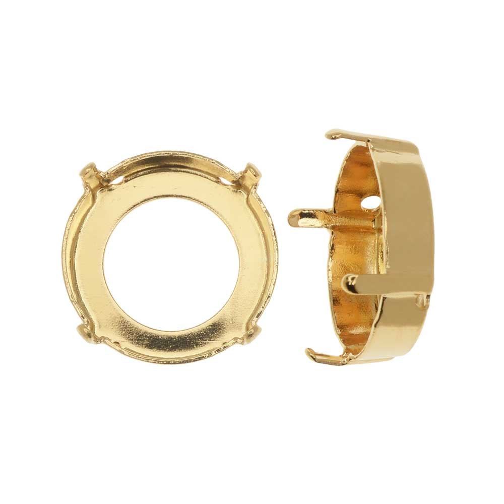 Swarovski Crystal Fancy Stone Setting, Fits #1122 14mm Rivoli, 2 Pieces, Gold Plated