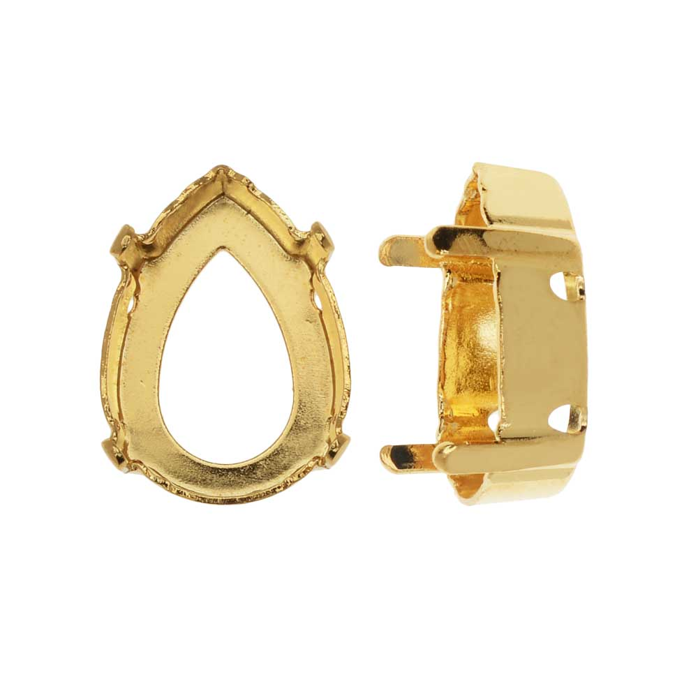 Swarovski Crystal Upgraded Fancy Stone Setting, Fits #4320 18x13mm Pear, 2 Pieces, Gold Plated