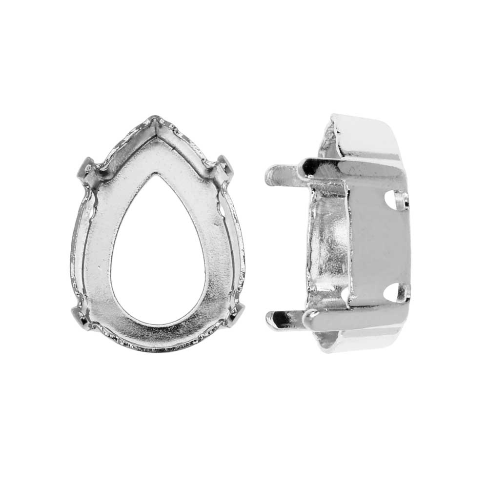 Swarovski Crystal Upgraded Fancy Stone Setting, Fits #4320 18x13mm Pear, 2 Pieces, Rhodium Plated