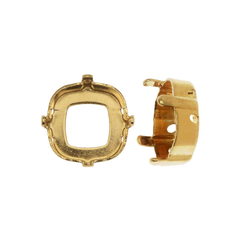 Swarovski Crystal Upgraded Fancy Stone Setting, Fits #4470 12mm Cushion, 2 Pieces, Gold Plated
