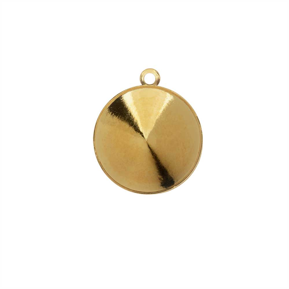 Final Sale - Swarovski Crystal Fancy Stone Pendant Setting, Fits #1122 Rivoli 14mm, 1 Piece, Gold Plated