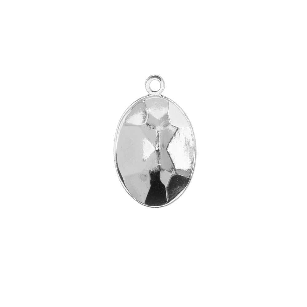 Swarovski Crystal Fancy Stone Pendant Setting, Fits #4120 Oval 14x10mm, 1 Piece, Rhodium Plated