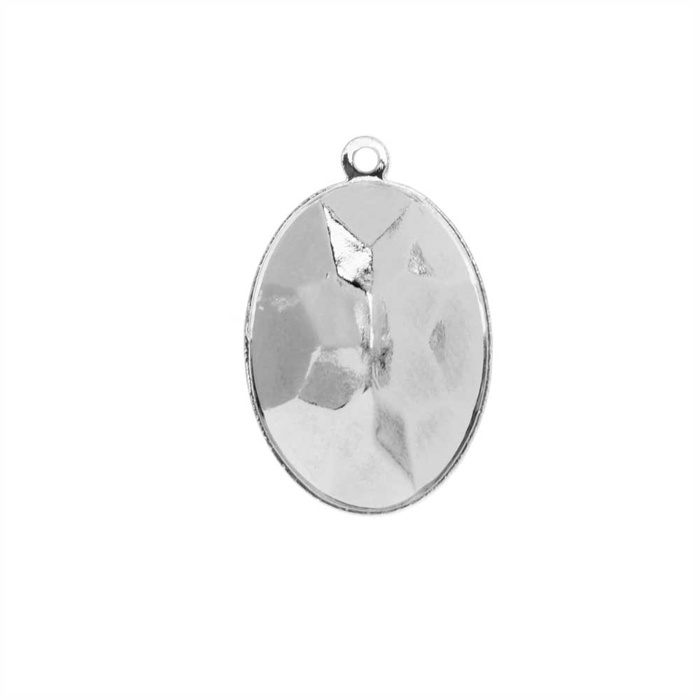 Swarovski Crystal Fancy Stone Pendant Setting, Fits #4120 Oval 18x13mm, 1 Piece, Rhodium Plated
