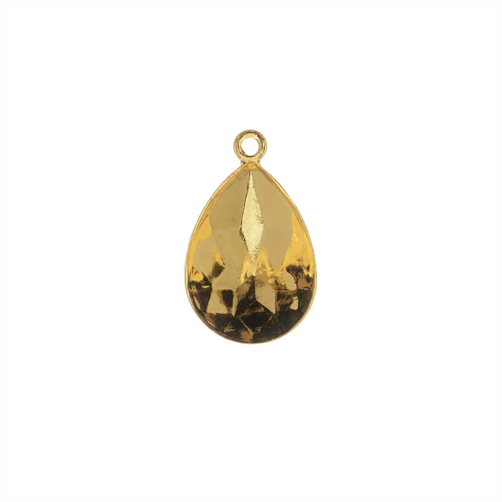 Swarovski Crystal Fancy Stone Pendant Setting, Fits #4320 Pear 14x10mm, 1 Piece, Gold Plated