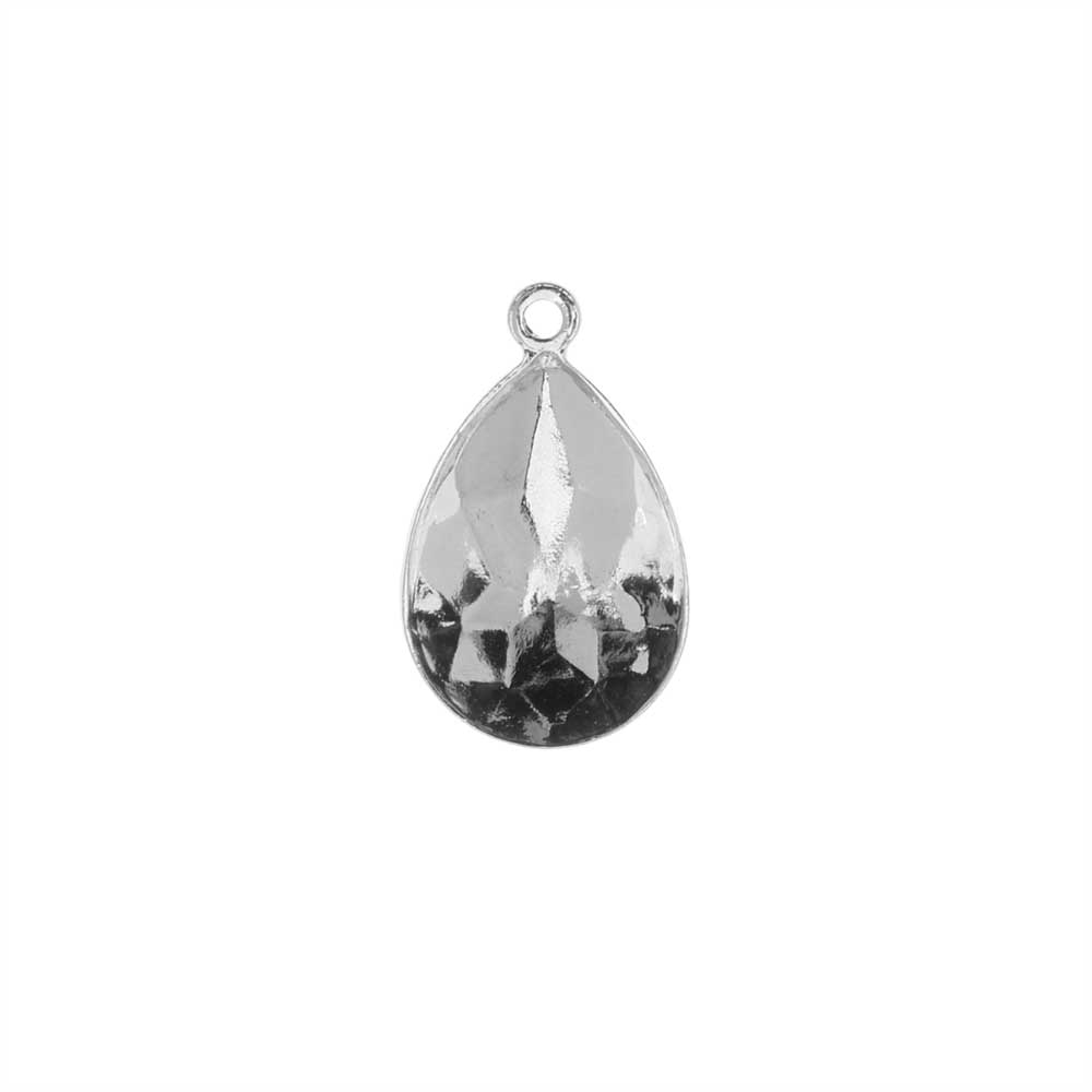Swarovski Crystal Fancy Stone Pendant Setting, Fits #4320 Pear 14x10mm, 1 Piece, Rhodium Plated