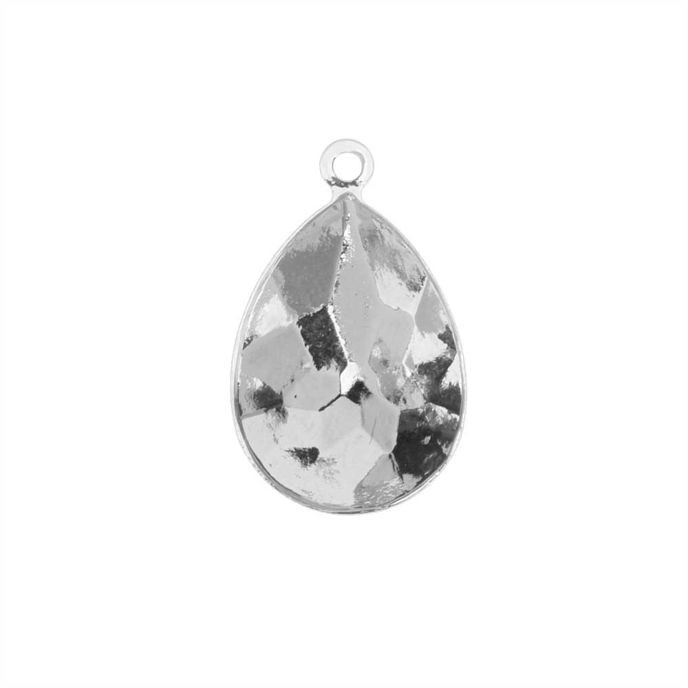 Swarovski Crystal Fancy Stone Pendant Setting, Fits #4320 Pear 18x13mm, 1 Piece, Rhodium Plated