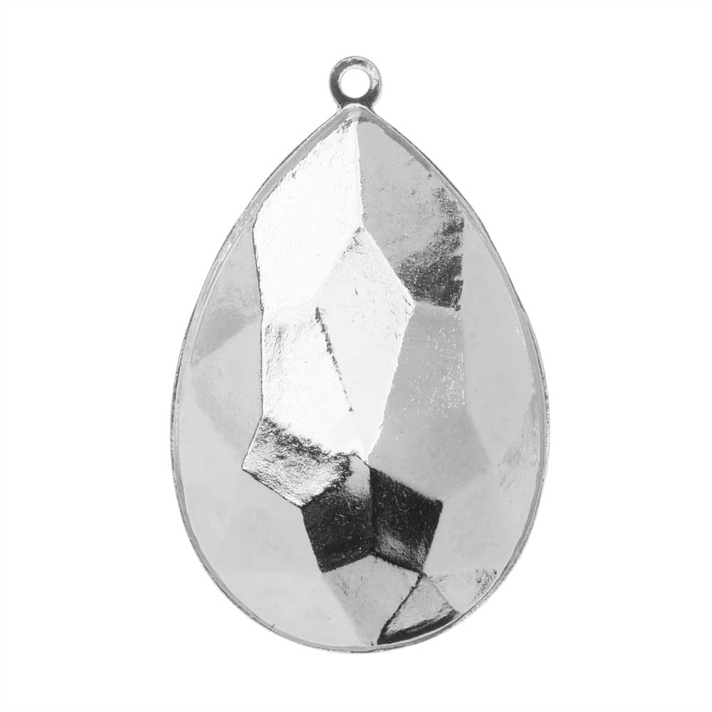 Swarovski Crystal Fancy Stone Pendant Setting, Fits #4327 Pear 30x20mm, 1 Piece, Rhodium Plated