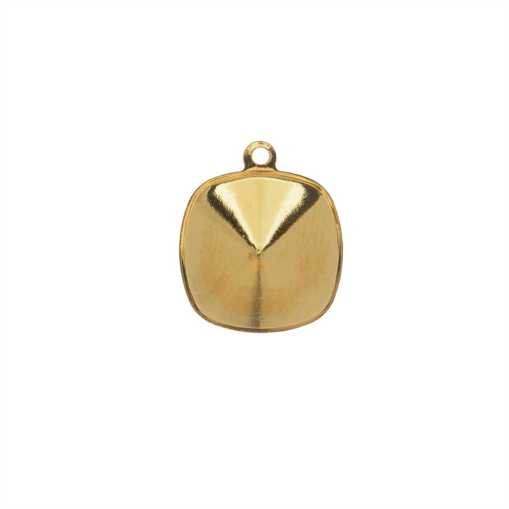 Swarovski Crystal Fancy Stone Pendant Setting, Fits #4470 Cushion 12mm, 1 Piece, Gold Plated