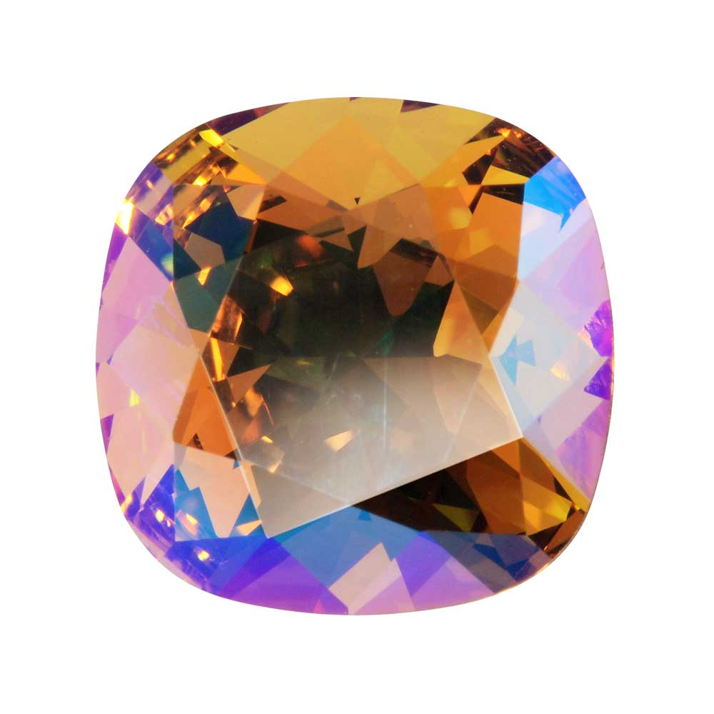 Swarovski Crystal, #4470 Cushion Fancy Stone 12mm, 1 Piece, Light Colorado Topaz Shimmer