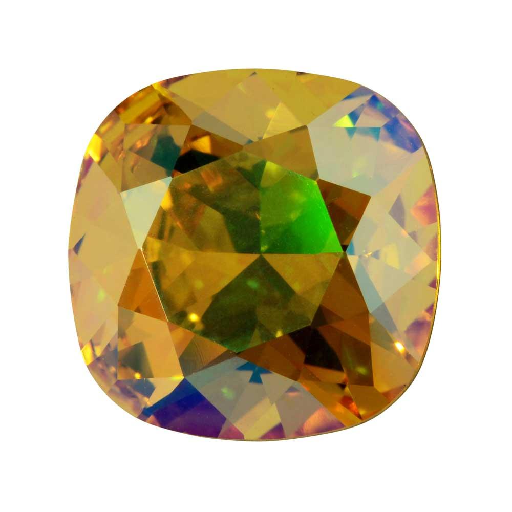Swarovski Crystal, #4470 Cushion Fancy Stone 12mm, 1 Piece, Light Topaz Shimmer