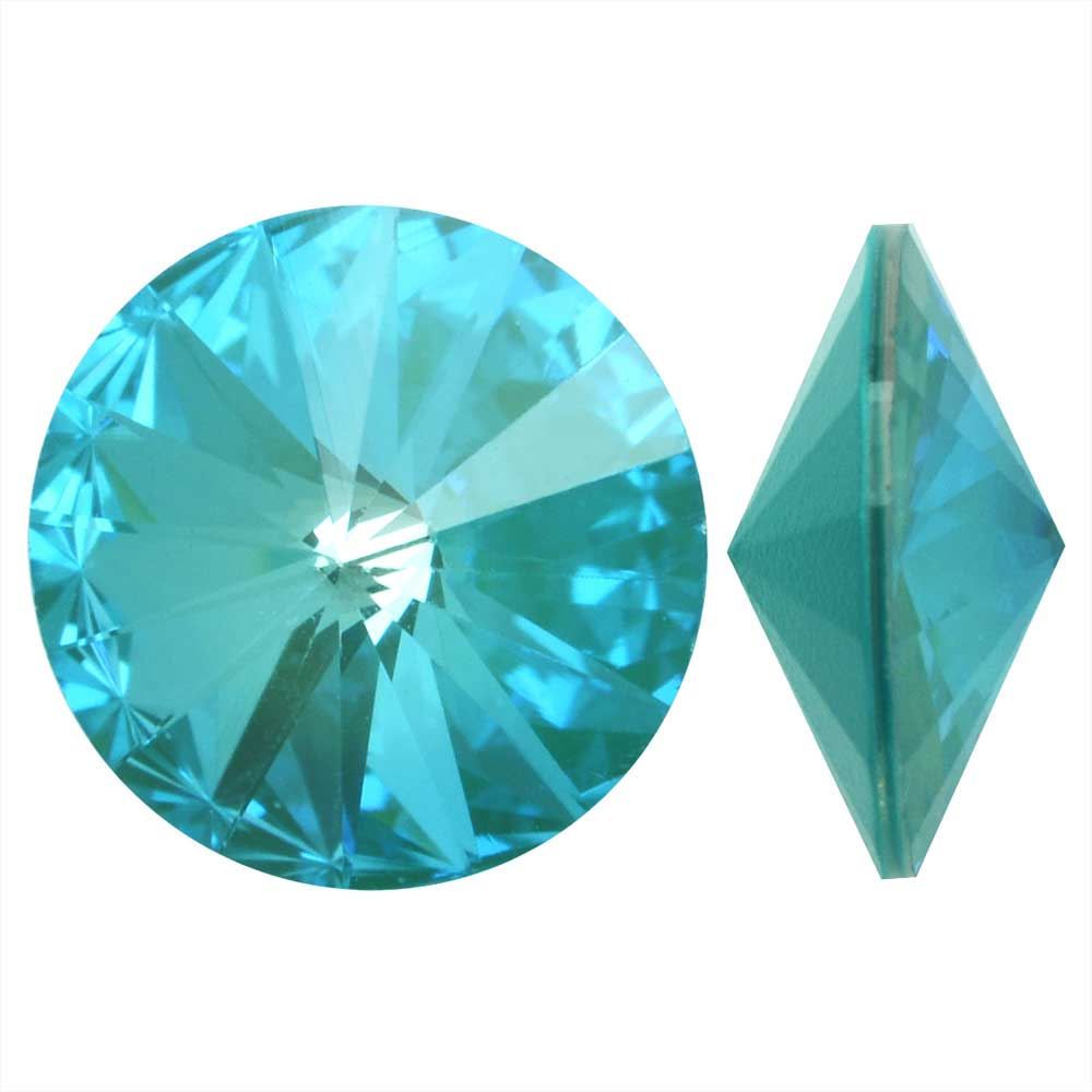 Swarovski Crystal, #1122 Rivoli Fancy Stones 12mm, 4 Pieces, Crystal Laguna DeLite