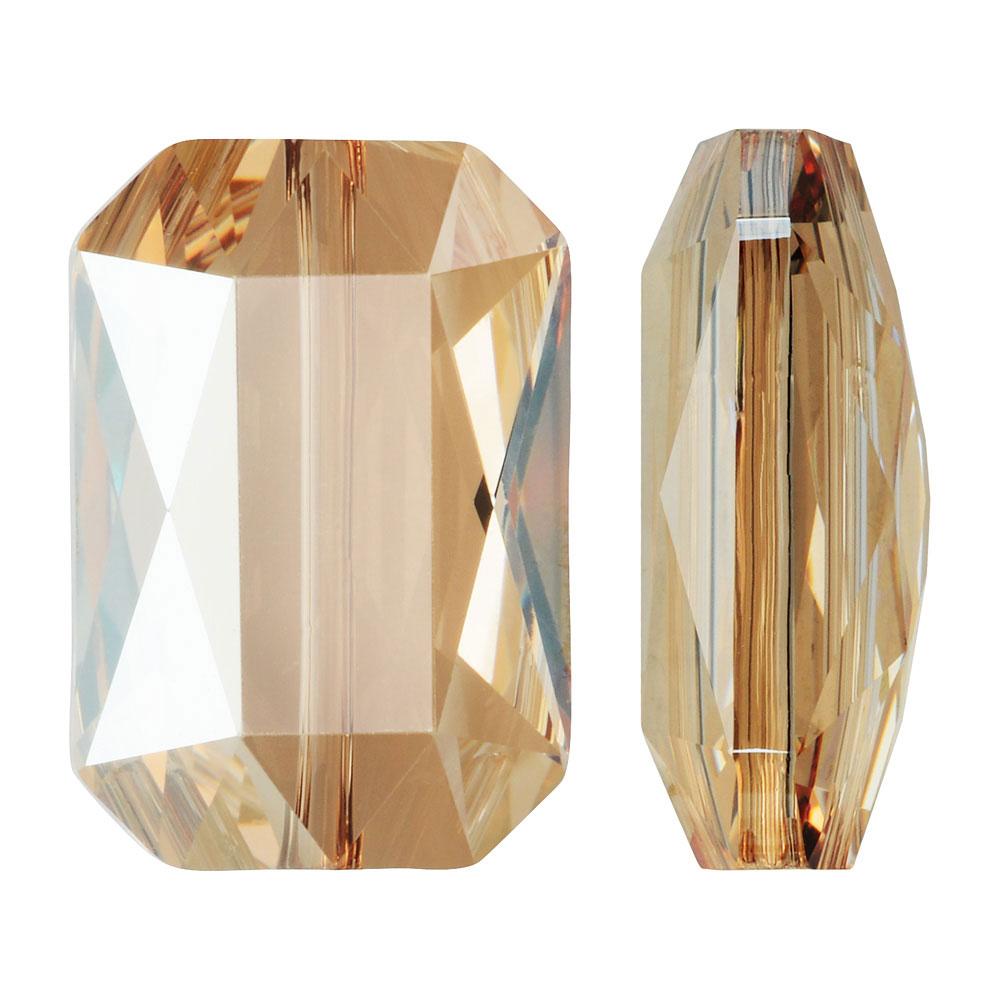 Swarovski Crystal, #5515 Emerald Cut Bead 14x9.5mm, 1 Piece, Crystal Golden Shadow