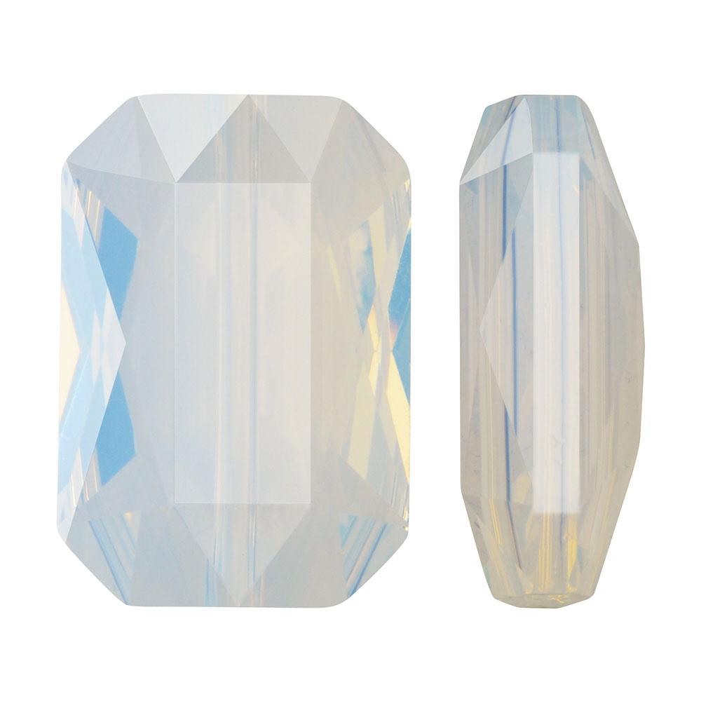 Swarovski Crystal, #5515 Emerald Cut Bead 14x9.5mm, 1 Piece, White Opal