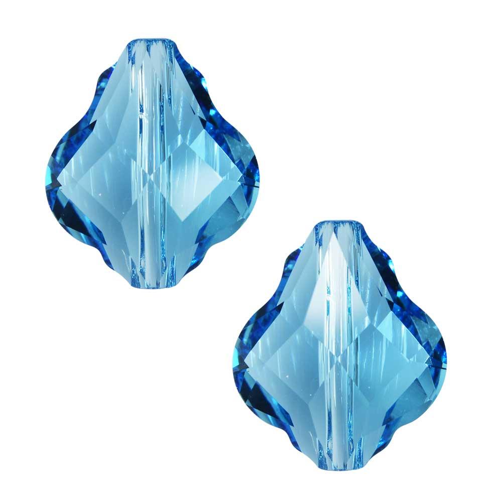 Swarovski Crystal, #5058 Baroque Bead 10mm, 2 Pieces, Aquamarine
